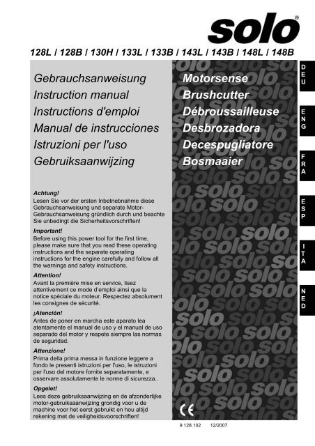 Gebrauchsanweisung Instruction manual Instructions d'emploi ...