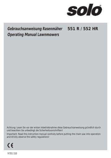 Gebrauchsanweisung Rasenmäher 551 R / 552 HR - SOLO ...