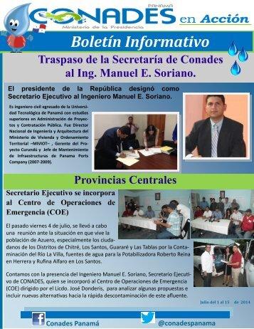 Boletín Informativo del Consejo Nacional para el Desarrollo Sostenible CONADES - 1 al 15 de julio de 2014
