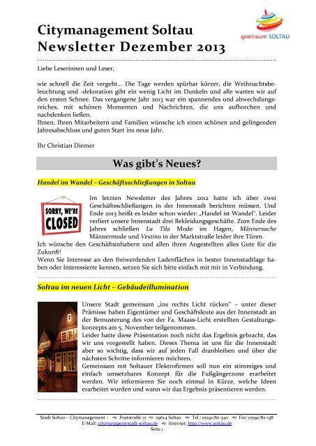 Newsletter Citymanagement Soltau 4/13 (pdf 0,61 MB)