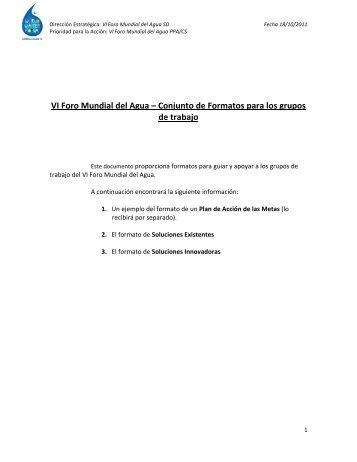 VI Foro Mundial del Agua – Conjunto de Formatos para los grupos ...