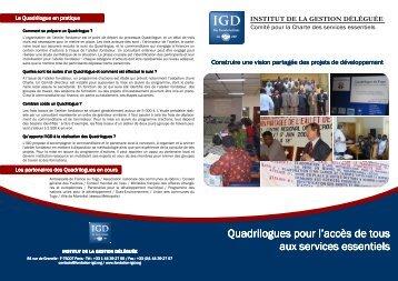 Quadrilogues pour l'accès aux services essentiels - Institut de la ...