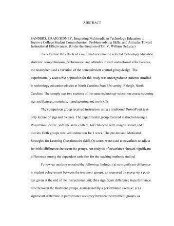 CHAPTER ONE - NCSU Digital Repository - North Carolina State ...