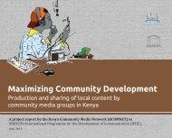 Maximizing Community Development