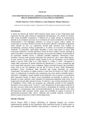 UNO STRUMENTO DI VITA ARTIFICIALE PER LO STUDIO DELLA ...