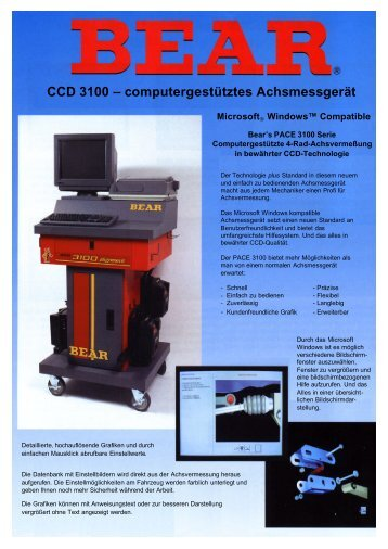 Achsmeßgerät SPX / BEAR CCD 3100 - Eichstädt Elektronik