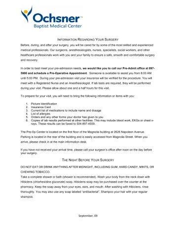 Baptist Web Page Information - Ochsner.org