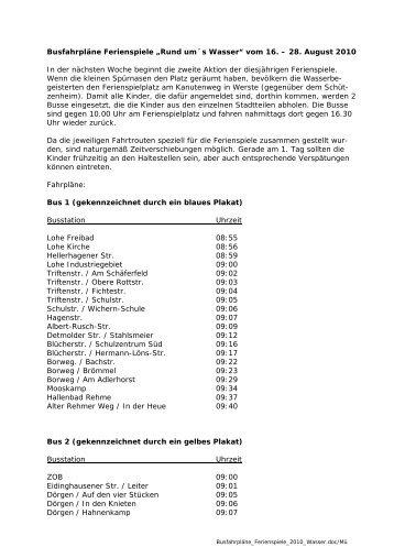 """Busfahrpläne Ferienspiele """"Rund um´s Wasser ... - Bad Oeynhausen"""