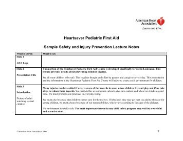 Heartsaver Pediatric First Aid Sample Safety And Injury - Ochsner.org
