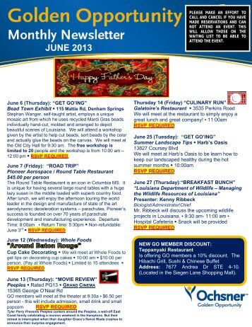Baton Rouge - June 2013 Newsletter - Ochsner.org