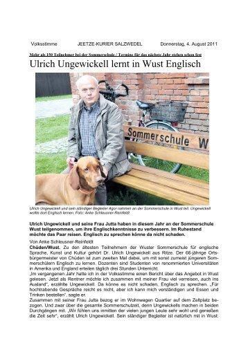 Ulrich Ungewickell lernt in Wust Englisch - Sommerschule Wust