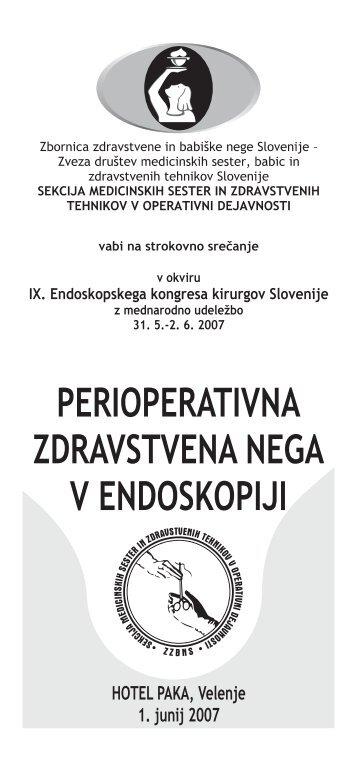 Program strokovnega srečanja - perioperativna zdravstvena nega