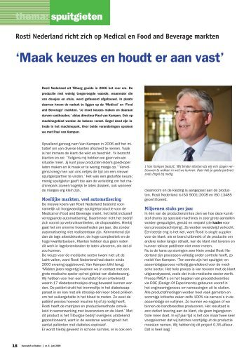 Rosti Nederland richt zich op Medical en Food and Beverage markten