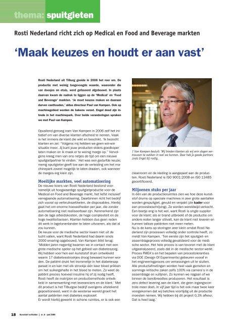 Rosti Nederland richt zich op Medical en Food and Beverage markten