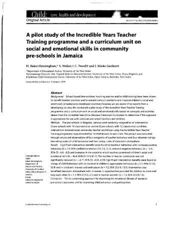 A pilot study of the Incredible Years Teacher Training programme ...