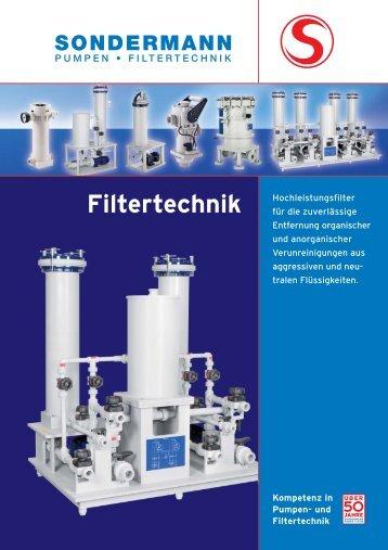 Filtertechnik - SONDERMANN Pumpen + Filter GmbH & Co. KG