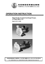 operation instruction - SONDERMANN Pumpen + Filter GmbH & Co ...
