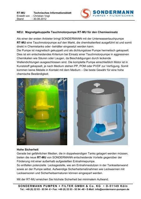 RT-MU Info - SONDERMANN Pumpen + Filter GmbH & Co. KG