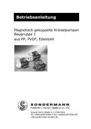 Betriebsanleitung - SONDERMANN Pumpen + Filter GmbH & Co. KG