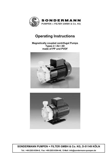 Operating Instructions - SONDERMANN Pumpen + Filter GmbH ...