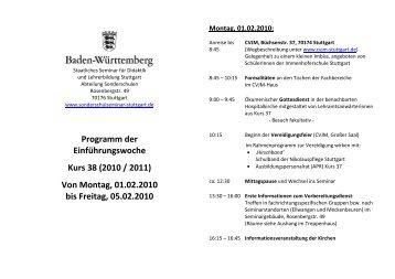 Programm der Einführungswoche Kurs 38 _HP - Seminar Stuttgart