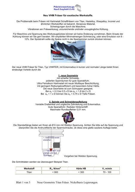Titan Fräser - Sonderwerkzeuge