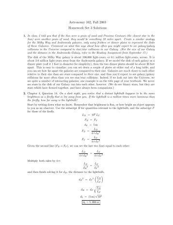 AST       Homework V   Solutions   Stony Brook Astronomy AST     Homework   Solutions
