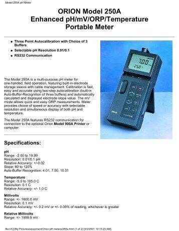 Model 250A pH Meter - Sonic.net