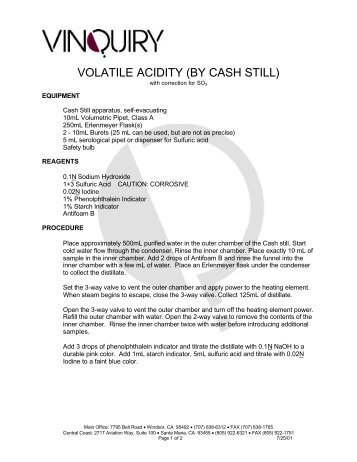 VOLATILE ACIDITY (BY CASH STILL) - Sonic.net