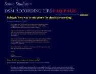 DSM Ambient Stereo-Surround Recording TIPS Page - Sonic Studios