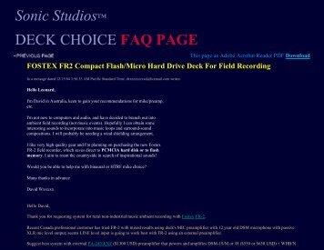 RECORDING TIPS DECK CHOICE FAQ PAGE - Sonic Studios