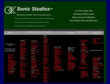 Sonic Studios Live Ambient Stereo-Surround Recording/Playback ...
