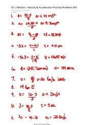 Ch. 2 Motion: Velocity & Acceleration Practice Problems KEY