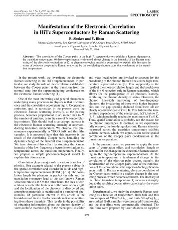 Manifestation of the Electronic Correlation in HiTc Superconductors ...