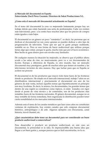 a\) Mercado del documental en España - Chile como exportador de ...