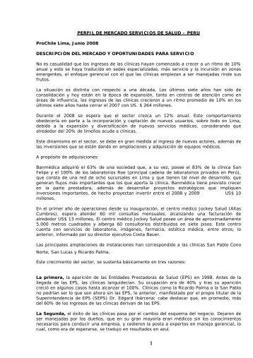 PERFIL DE MERCADO SERVICIOS DE SALUD - Chile como ...