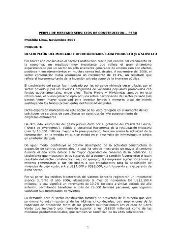 PERFIL DE MERCADO SERVICIOS DE CONSTRUCCION – PERU ...