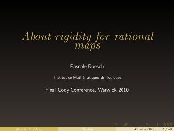 Lecture 1, CODY Final Conference, December 2010 - Institut de ...
