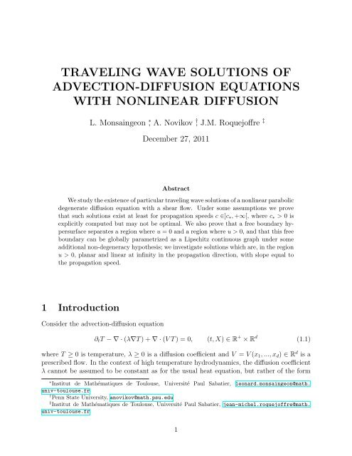 traveling wave solutions of advection-diffusion equations