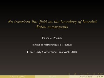 Lecture 2, CODY Final Conference, December 2010 - Institut de ...