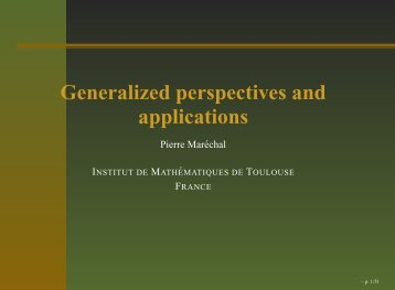 Generalized perspectives and applications - Institut de ...