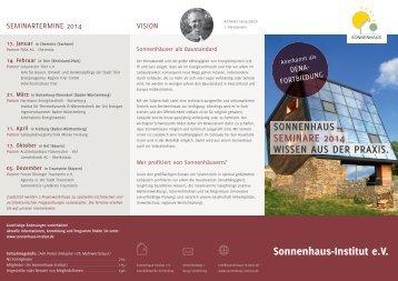 Seminar Flyer 2014 - Sonnenhaus-Institut