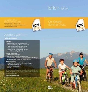 ferien aktiv - Sonnenplateau Mieming & Tirol Mitte