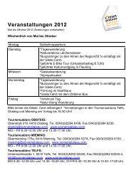 Veranstaltungen 2012 - Sonnenplateau Mieming & Tirol Mitte