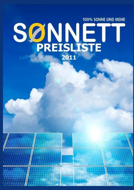PREISLISTE - Sonnett GmbH & Co. KG