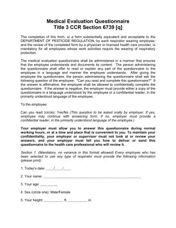 Osha Respirator Medical Evaluation Questionnaire