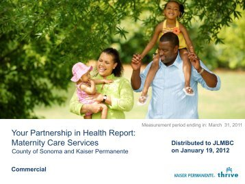 Kaiser Maternity Care Services 033111 - County of Sonoma