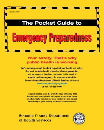 The Pocket Guide to Emergency Preparedness - County of Sonoma