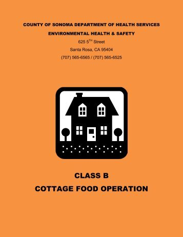 Application Packet: Class B Cottage Food Operation - Sonoma County