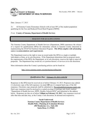 Request for Qualifications – Healthy Schools RFQ - County of Sonoma